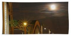 Night Shot Of The Los Angeles 6th Street Bridge And Supermoon #7 Bath Towel