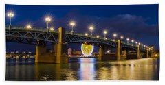Night Shot Of The Pont Saint-pierre Bath Towel by Semmick Photo