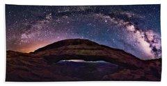 Night Sky Over Mesa Arch Utah Bath Towel