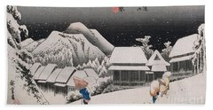 Night Snow Hand Towel by Hiroshige