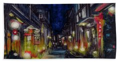 Hand Towel featuring the painting Night Street by Ron Richard Baviello
