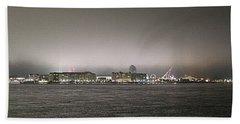 Night View Ocean City Downtown Skyline Hand Towel