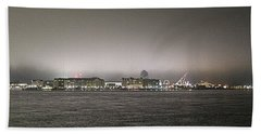 Night View Ocean City Downtown Skyline Hand Towel by Robert Banach