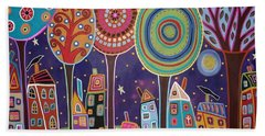 Night Village Hand Towel