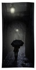 Night Walk In The Rain Hand Towel