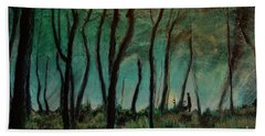 Hand Towel featuring the painting Night Walk by Ron Richard Baviello