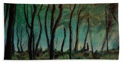 Bath Towel featuring the painting Night Walk by Ron Richard Baviello