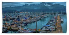 Nightfall On The Harbor Bath Towel