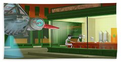Nighthawks Invasion Hand Towel by Peter J Sucy
