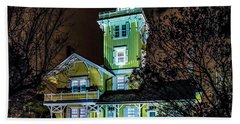 Bath Towel featuring the photograph Nighttime Fog At Hereford Inlet by Nick Zelinsky