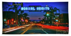 Nighttime Neon In Normal Heights, San Diego, California Bath Towel