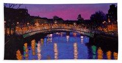 Nighttown Ha Penny Bridge Dublin Bath Towel