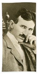 Nikola Tesla, Serbian-american Inventor Hand Towel by Photo Researchers