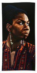 Nina Simone Painting Hand Towel by Paul Meijering