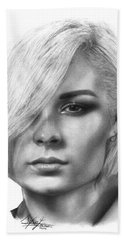 Nina Nesbitt Drawing By Sofia Furniel Bath Towel