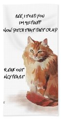 Hand Towel featuring the painting No Fat Cat by Colleen Taylor