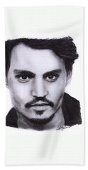 Johnny Depp Drawing By Sofia Furniel Bath Sheet by Sofia Furniel