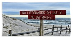 No Lifeguards On Duty Hand Towel by Paul Ward