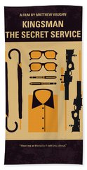 Bath Towel featuring the digital art No758 My Kingsman Minimal Movie Poster by Chungkong Art