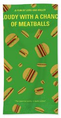 No778 My Cloudy With A Chance Of Meatballs Minimal Movie Poster Bath Towel