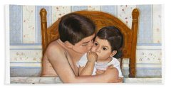 Bath Towel featuring the painting Noah Takes Time For Kira by Marlene Book