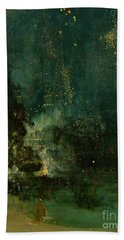 Nocturne In Black And Gold - The Falling Rocket Hand Towel