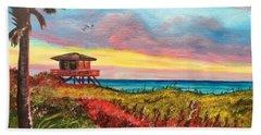 Nokomis Florida Beach At Sunset Hand Towel