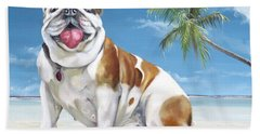 Hand Towel featuring the painting Norma Jean The Key West Puppy by Phyllis Beiser