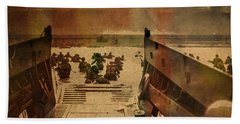 Normandy Beach On Dday World War Two Watercolor Tinted Historical Photograph On Worn Canvas Bath Towel