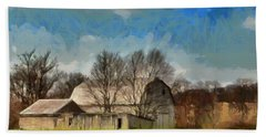 Bath Towel featuring the mixed media Norman's Homestead by Trish Tritz