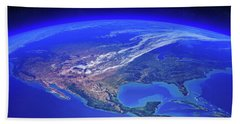 North America Seen From Space Hand Towel