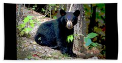 Hand Towel featuring the mixed media North American Black Bear by Charles Shoup