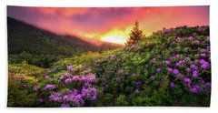 North Carolina Mountains Outdoors Landscape Appalachian Trail Spring Flowers Sunset Hand Towel