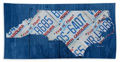 North Carolina Vintage Recycled License Plate Map On Blue Wood Plank Background Bath Towel