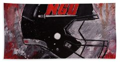 Bath Towel featuring the painting North Greenville University Football Helmet Wall Art Painting by Gray Artus
