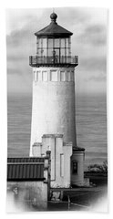 North Head Lighthouse Black And White Photograph Bath Towel