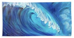 North Shore Wave Oahu 2 Hand Towel by Jenny Lee