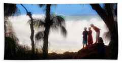 North Shore Wave Spotting Bath Towel by Jim Albritton