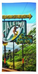 Hand Towel featuring the photograph North Shore's Hale'iwa Sign by Jim Albritton