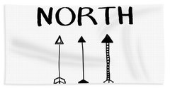 North With Arrows- Art By Linda Woods Bath Towel