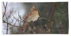 Northern Female Cardinal Hand Towel