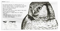 Northern Hawk-owl Infographic Poster Bath Towel