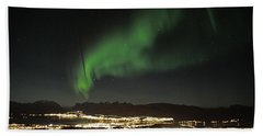 Northern Light In Troms, North Of Norway Hand Towel