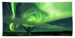 Northern Light In Western Iceland Hand Towel