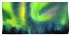 Hand Towel featuring the painting Northern Lights 3 by Kathy Braud