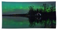 Northern Lights At Gull Lake Hand Towel