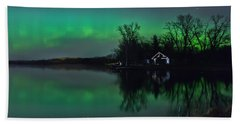 Northern Lights At Gull Lake Hand Towel