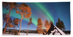 Bath Towel featuring the photograph Northern Lights By The Lake by Delphimages Photo Creations