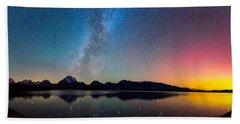 Northern Lights Over Jackson Lake Hand Towel