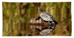 Northern Map Turtle Bath Towel by Debbie Oppermann